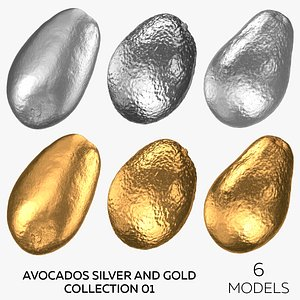 Avocados Silver and Gold Collection 01 - 6 models 3D model