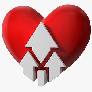 Heart with Up Arrow 3D model