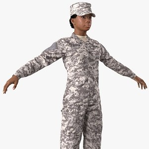 black female soldier military 3D