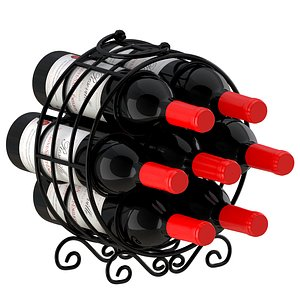Circular Wine Rack Wine Bottles 3D