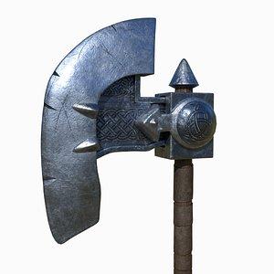 3D axe weapon battleaxe model