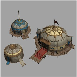 Chinese Style 3D Yurt of Mongolian Nomads Package 3D