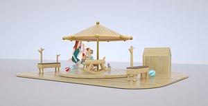 3D Building blocks Meichen display scene Trojan horse Wooden umbrella Wooden house Educational building model