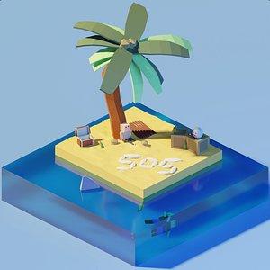 3D isometric castaway marooned model