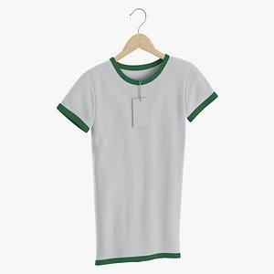 Female Crew Neck Hanging With Tag White and Green 01 3D