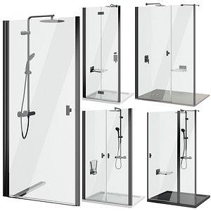 3D Shower doors Radaway Nes 8 Black set 140 model