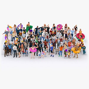 3D model populating people casual rig characters