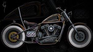 Custom Bobber Motorcycle-type Chopper model 3D