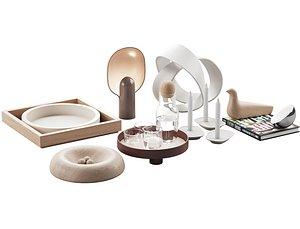 006 Living contemporary nature accessories decor set 3D model