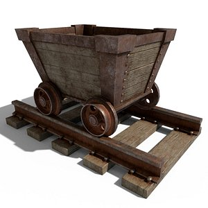 3D Cartoon Mine Cart model