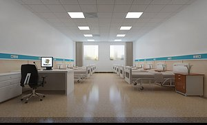 3D model Hospital operating room setting up obstetrics and gynecology medical equipment operating table emerg