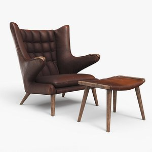 Papa Bear Chair And Ottoman Worn Brown Leather 3D