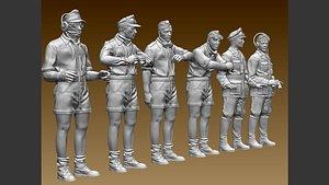 German tank crew Afrika Korps 3D model