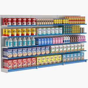 supermarket shelves grocery 3D model