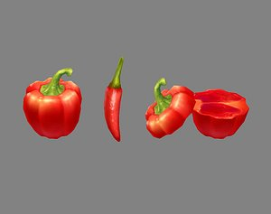 chilli red vegetabl 3D model