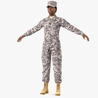 Black Female Soldier Military ACU Fur Rigged