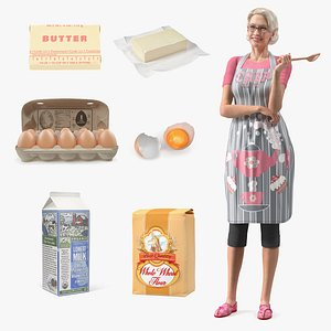 Elderly Woman with Cake Making Products Collection 3D model