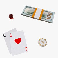 4 in 1 Casino Stuff, Blackjack Cards, Poker Chips,Dice and Money Stack