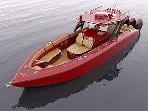 3D Motorboat Red