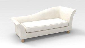 3D Lounge Sofa-White fabric