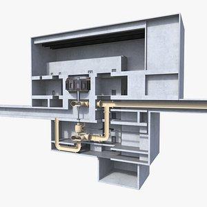 Pumped Storage Hydro Electric Power Plant 3D model