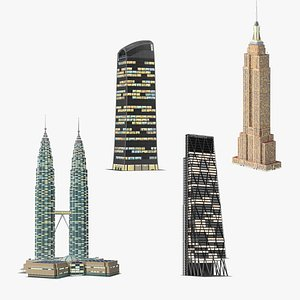 3D Night Glow Skyscrapers Collection