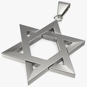 3D model star david necklace silver