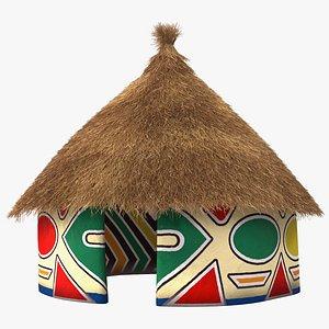 3D Colorful African Mud Hut Fur