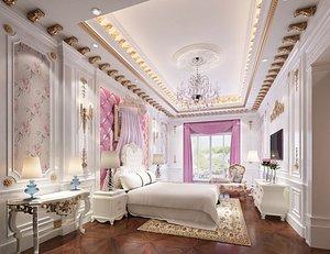 3D model Bedroom postmodern bedroom master bedroom contracted bedroom luxury bedroom European style bedroom b