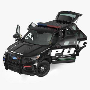 Ford Police Interceptor Utility Hybrid AWD Rigged 3D