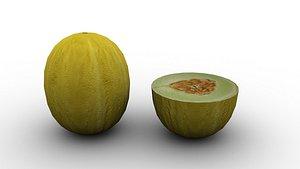 3D model food fruit cantaloupe