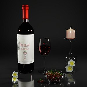 3D Red wine with cherries and candle