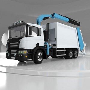 3D Front Crane Garbage Truck v02