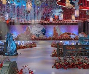 3D model Wedding hotel, wedding, wedding scene, wedding scene layout banquet hall beautiful Chen layout dream