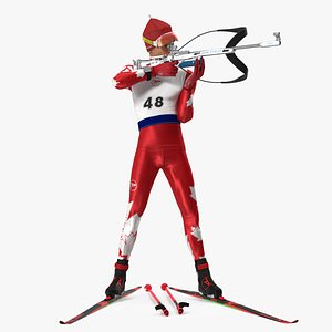 Biathlete Fully Equipped Canada Team Standing Pose model