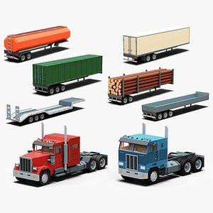 Cartoon stylized  semi trucks and trailers pack 3D model