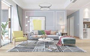 Living room, modern living room, modern style living room, Nordic living room, Nordic living room, E model