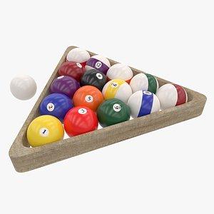 3D Billiard Wooden Rack and Balls