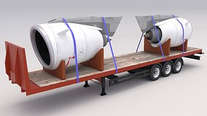 3D Flatbed Trailer with Jet Engines