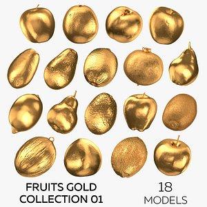 3D model Fruits Gold Collection 01 - 18 models