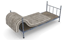 Old Dirty Single Bed 2 3D model