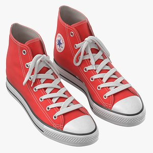 Basketball Leather Shoes Red 3D