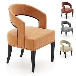 gold curved accent chair 3D