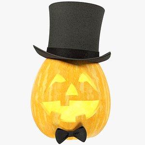 3D Halloween Pumpkin with Hat V4