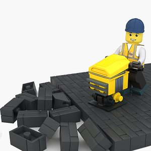 3D Lego Worker Terry with Hammer