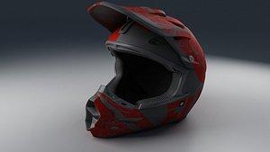 3D Moto Helmet Red