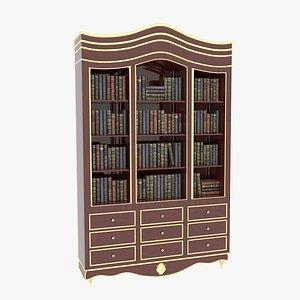 3D Bookcase Large Mahogany model