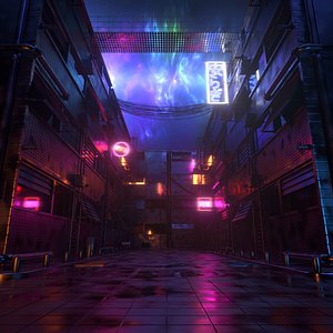 Synth Wave Style Street With Neon Glow Signs 3D model