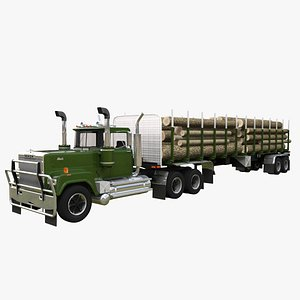 Mack Super Liner 1993 Timber Trailer 3D model