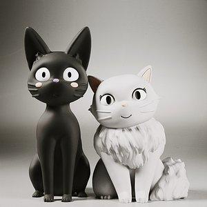 3D black cat jiji